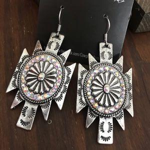 Jewelry - Silver Tribal Concho Earrings